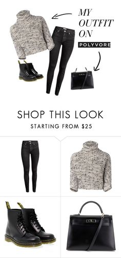"""""""Womens sleeve, pants, boots, black bag"""" by lana-653 ❤ liked on Polyvore featuring Brunello Cucinelli, Dr. Martens, Hermès, Boots, bag and sleeve"""