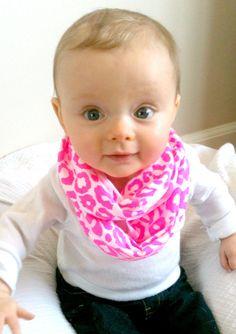 Baby infinity scarf, neon pink cheetah print. $8.00, via Etsy.