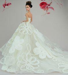 Hot Stylish Princess White Flower Bridal Gown Wedding Dress for Barbie Doll GW6#