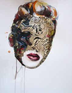 Montreal based artist Sandra Chevrier creates paintings that fall somewhere between fashion illustration, painting, and comics. She uses the technique of collage by taking excerpts of comic books and juxtaposing them on her own colourful and well rendered portraits. With her signature style and unique visual aesthetic, this artful image series depicts masked and unconventionally disguised heroines with an apparent dynamism.