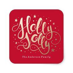 Holly Jolly   Holiday Stickers - Xmas ChristmasEve Christmas Eve Christmas merry xmas family kids gifts holidays Santa