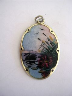 Vintage H.C. Ostrem Norway OXO pendant swan lake pendant guilloche enamel .925 #OXO #Pendant