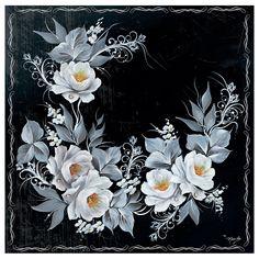 Guardanapo Para Decoupage Toke e Crie com 2 Unidades - Rosas Brancas com Fundo Preto - GBM040 - 19860 - CasaDaArte