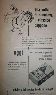 """www.piziarte.net La pubblicità negli anni 50 """"Dadi Brodo"""" dalla rivista settimanale """"Il Tempo"""" 1954."""