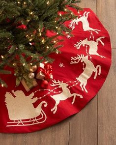 Santa & Sleigh Christmas Tree Skirt The little awareness of the absolute most passionate food of the year Eieiei, the Xmas party is appr Merry Little Christmas, Noel Christmas, Winter Christmas, Christmas Stockings, Christmas Crafts, Christmas Decorations, Reindeer Christmas, Christmas Movies, Christmas Lights