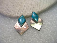 """Vintage Sterling Silver Southwestern Inlaid Turquoise Stud Pierced Earrings, 1"""" #unsigned"""