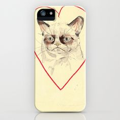 Grumpy Cat Love iPhone Case by withapencilinhand - $35.00... if they had this for my phone I would get it!
