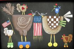 Patriotic and Whimsical Chickens with by barbsheartstrokes on Etsy