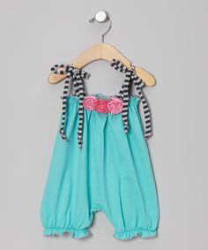 Look at this #zulilyfind! Turquoise Rosette Bubble Romper - Infant #zulilyfinds