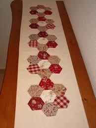Resultado de imagen de patchwork camino de mesa con hexagonos