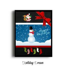 ON SALE  Chalkboard Happy Holidays Printable Happy by HolidayDream