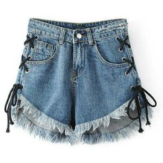 Raw Hem Eyelet Lace Up Denim Shorts (359.275 IDR) ❤ liked on Polyvore featuring shorts, jean shorts, denim short shorts, short jean shorts and denim shorts