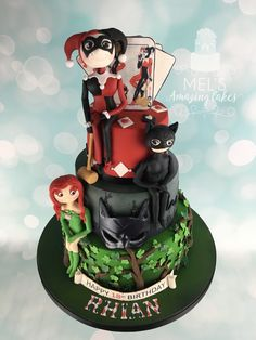 Female Gotham villains 18th birthday  Cake with poison ivy , cat woman and Harley Quinn