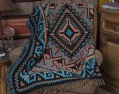 Southwestern Accent Throw 50x60 -Navajo Turquoise (t37) - Mission Del Rey Southwest
