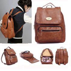 Brown Vintage Girls Boys Leather Satchel Backpack Shoulder Messenger Book Bag  #Unbranded #Backpack