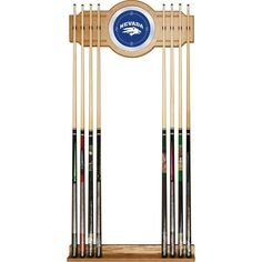 University of Nevada 8 Cue Rack Veneered Oak Finish Full Color Logo on Mirror #TrademarkGameroom