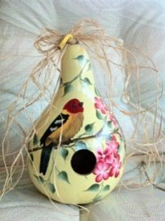 Soft Yellow Painted Gourd Birdhouse Beautiful by gourdartistIam, $29.95