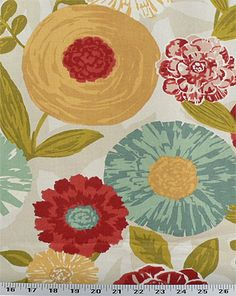Luna Flora Poppy | Online Discount Drapery Fabrics and Upholstery Fabric Superstore!