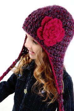 Berry Burst Fluffy Crochet Earflap Hat
