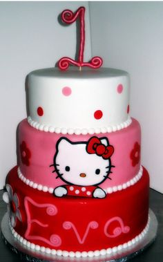 """Hello kitty cake - This wold be VERY easy with my Cricut Cake & """"Hello Kitty Greetings"""" cartridge"""