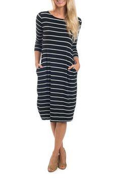 Hello Darling Black Striped Dress
