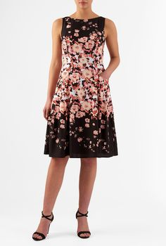 White to black and soft hues in between grade our floral print crepe dress styled with a princess seamed bodice and a full A-line skirt shaped by plush pleats from the curved front pockets.