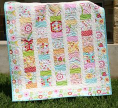 Simply Sweet Baby Girl Quilt Red Blue Aqua by SunnysideDesigns2, $149.00