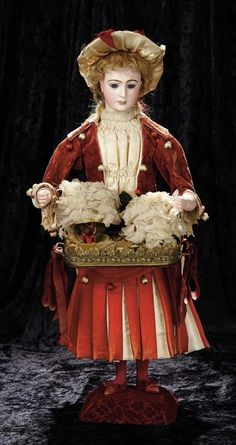 "Soirée: A Marquis Cataloged Auction of Antique Dolls and Automata - May 14, 2016: Lot 56. Large French Musical Automaton ""Lady Flower Seller with Surprises"" Leopold Lambert"