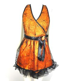 Maker's Halloween Apron With Spider Web Lace Orange