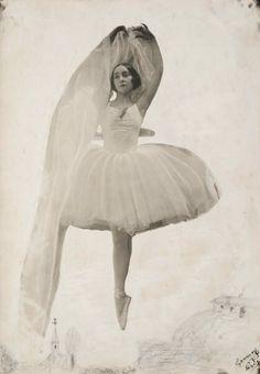 """Olga Spessivtzeva in """"Giselle"""", costume design by Alexandre Benois."""