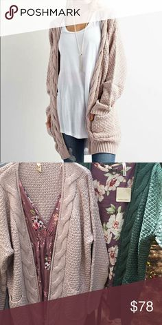Blush Cable Cardigan Sweater ||. Size M/L Pair this over-sized cardigan with your favorite pair of jeans and booties for the perfect day time casual look.  This cardigan comes in a gorgeous shade of pale pink that gives it a sweet feminine feel.   This sweater is a blend of polyester, acrylic and wool and is super comfy! Sweaters Cardigans