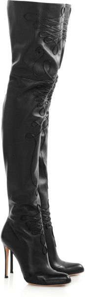 Altuzarra Black Embroidered Leather Thigh Boots €1,900 #Shoes #Heels