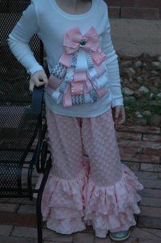 Triple Ruffle Light Pink Minky Pants. $38.00, via Etsy.