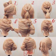 いいね!1,595件、コメント2件 ― (香川県/美容師)西川 ヒロキ《ヘアアレンジ・カラー》さん(@hiroki.hair)のInstagramアカウント: 「フォロワーさんリクエスト★ くるりんぱ×よこりんぱの夜会巻き風アレンジ✨ 1,トップを分けます 2,トップをくるりんぱします 3,余っている髪を全部結びます 4,よこりんぱします…」