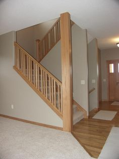 Stair Railing. Plain Balusters. Wooden Post U0026 Rails. | Home Ideas |  Pinterest | Wooden Posts And Stair Railing