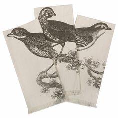 Slate Ornithology Bird Hand Towels Set of 3