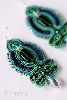 blueagata: Soutache earrings in green and navy blue color.