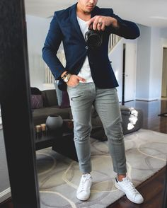 #Fridaynight outfit idea #blue blazer biker jeans and white sneakers Hope you…