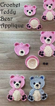 Crochet Teddy Bear Applique #muñecosdeganchillo Crochet Teddy Bear Applique