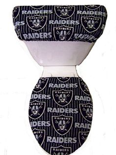NFL Oakland Raiders Fleece Toilet Seat Cover Set ** Details can be found by clicking on the image.