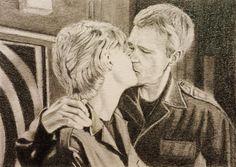 Stargate SG1 Jack O'Neill Kissing Sam Carter Amanda Tapping ACEO Sketch Art Card