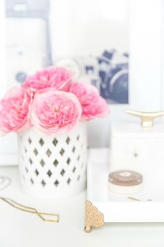 Hello! Ashley here again with another quick home project! Here is a DIY vanity tray that's perfectly fitting to display all of your pretties!
