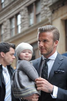 David and Harper Beckham what's cuter than a handsome man holiding his baby girl?