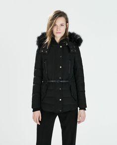 Zara Black Down Anorak With Furry Hood - Beautiful Wardrobe