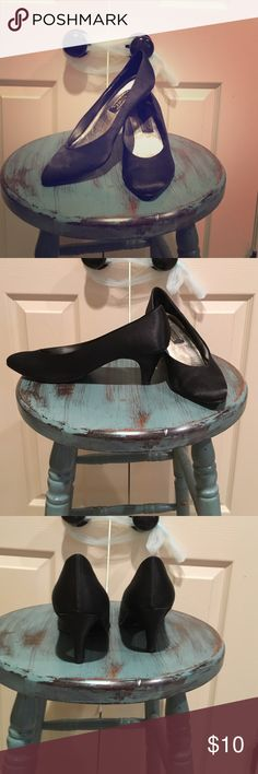 """BLACK SATIN PUMPS * comfortable, versatile, black satin pumps * 2.75"""" heels * most signs of wear are on the bottom of the sole as in the pic * great staple to any wardrobe  J. Renee Shoes Heels"""