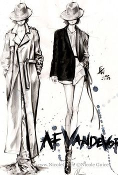 Fashion Sketches of runway looks from AF Vandevorst; fashion illustration // Nicole Guice