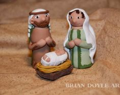 Mary, Joseph, and baby Jesus for Christmas Creche Nativity Scene in Polymer Clay