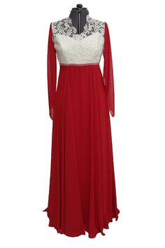Long chiffon and lace prom dresses elegant bridesmaid by Irinuka
