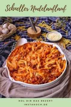 Fast pasta bake with hack - recipes - cooking recipes - knockout-Schneller Nudelauflauf mit Hack – Rezepte – Kochrezepte – Kochen – Instakoch.de Fast pasta bake with chop – Recipes – Cooking recipes – Cooking – Instakoch. Easy Dinner Recipes, Snack Recipes, Easy Meals, Pasta Recipes, Cooking Tips, Cooking Recipes, Basic Cooking, Chops Recipe, Pasta Bake