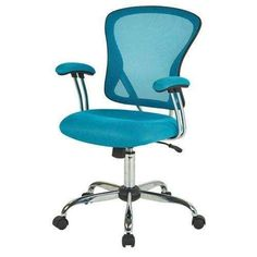 Fastfurnishings Blue High Back Mesh Office Chair with Padded Armrest